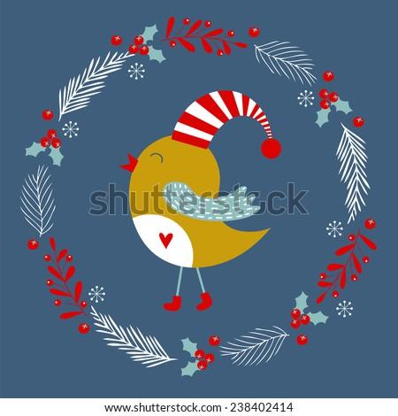 Christmas card with bird. Christmas vector illustration. Holiday greeting card. - stock vector