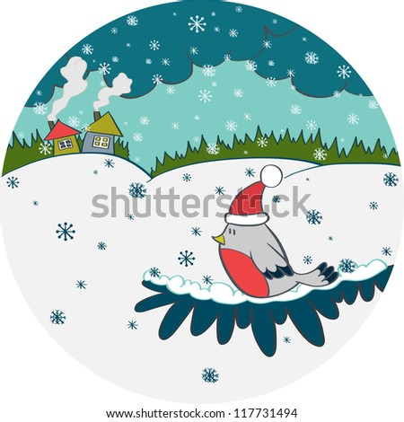 Christmas card with bird in a red hat, cozy cartoon houses, forest and snowflakes. Vector illustration. - stock vector