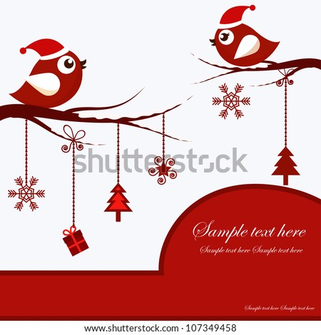 Christmas Card with Birds - stock vector
