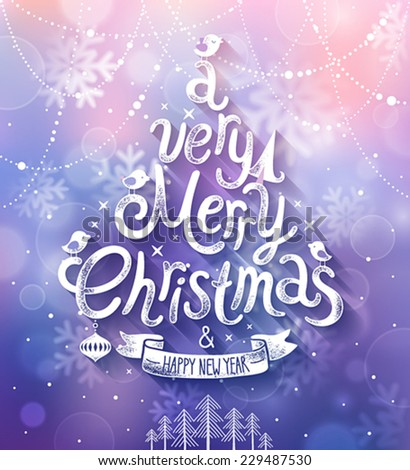 Christmas card with blurred background. Vector illustration. - stock vector