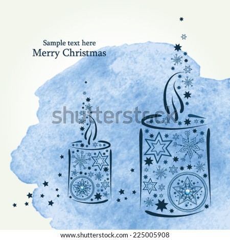 Christmas card with candle. Watercolor background in vector  - stock vector