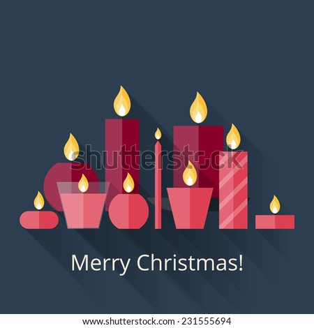 Christmas card with candles in flat style with long shadows. Merry Christmas! Flat icons Christmas candles with long shadows. 9 different candles in flat style. Candles collection - stock vector