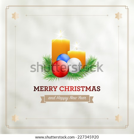 Christmas card with candles, spruce and christmas balls - vector illustration - stock vector
