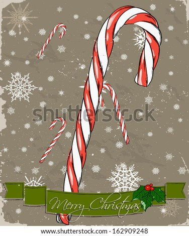Christmas card with candy cane. Vector illustration EPS8 - stock vector