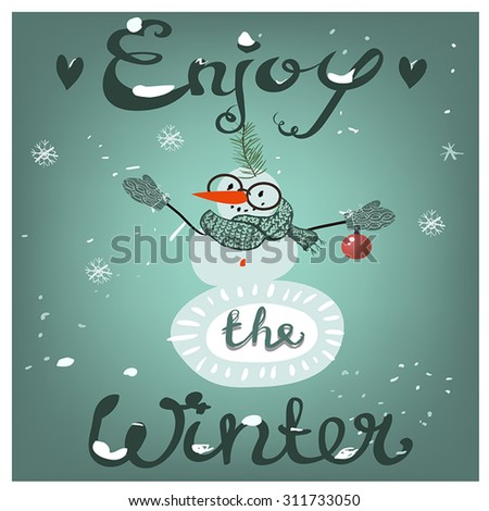 Christmas card with cartoon snowman - stock vector