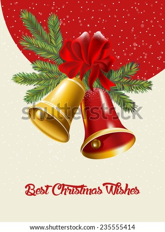 Christmas card with Christmas bells. Vector illustration - stock vector