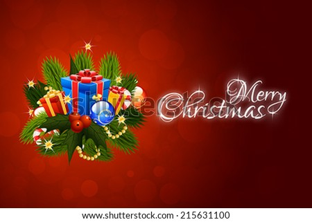 Christmas Card with Christmas Decorations and Presents - stock vector