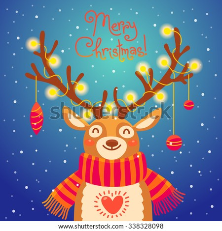 Christmas card with christmas santa reindeer. Cute cartoon deer with garlands on the horns and scarf.  Merry christmas background. Vector illustration - stock vector