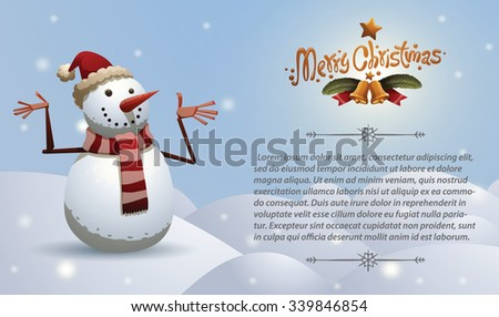 Christmas card with Christmas snowman in red christmas hat and scarf with red and white stripes, vector - stock vector