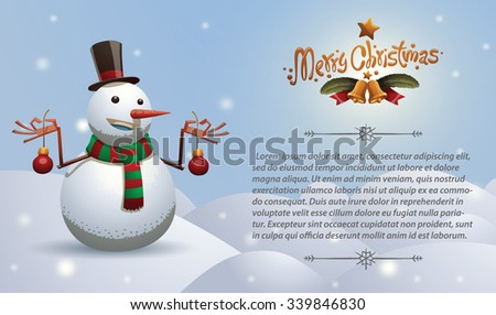 Christmas card with Christmas snowman in tall hat and scarf with red and green stripes holding two red christmas tree balls, vector - stock vector