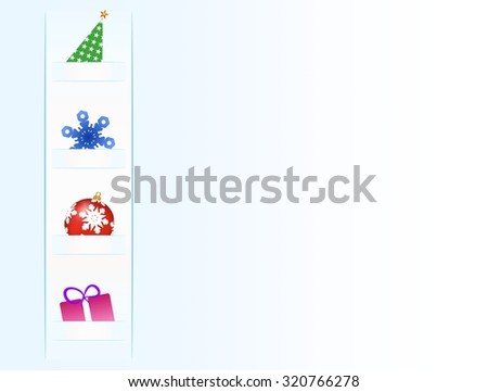 Christmas card with Christmas symbols Christmas tree, snowflake, Christmas balls and gift on the strip of paper left on the blue background - stock vector