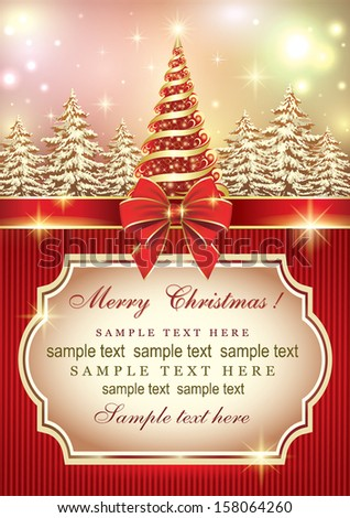 Christmas card with Christmas tree - stock vector