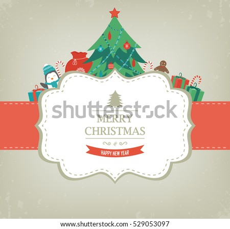 Christmas card with Christmas Tree and Gifts. Vector illustration