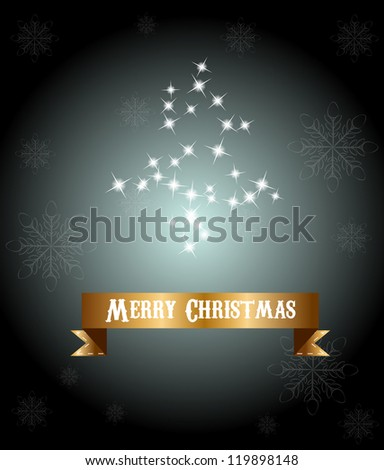 Christmas card with christmas tree and golden ribbon - stock vector