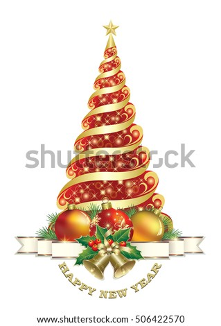 Christmas card with Christmas tree, ball and bells on a white background