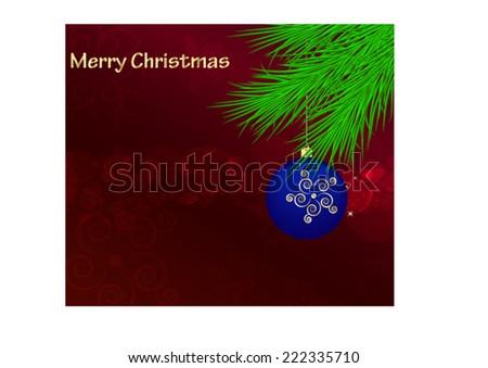 Christmas card with Christmas tree branch and ball - stock vector
