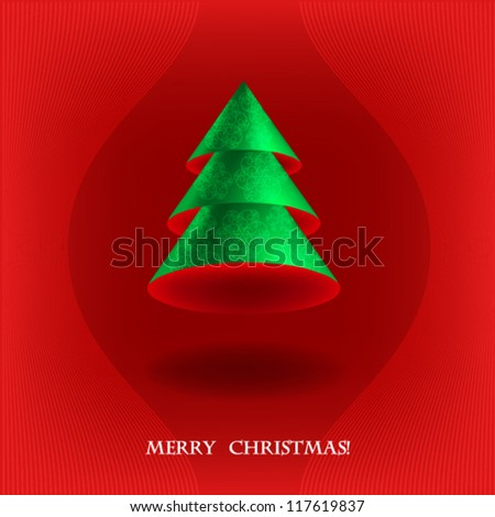 Christmas card with Christmas tree 3d