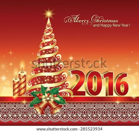 Christmas card with Christmas tree.Digits in 2016, tree, bells, candles, ribbon, ornament. - stock vector