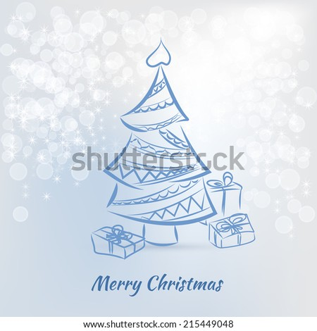 Christmas card with christmas tree on a blue background - stock vector