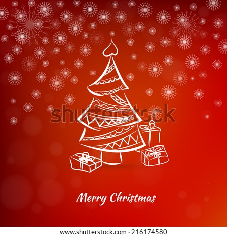 Christmas card with christmas tree on a red background - stock vector