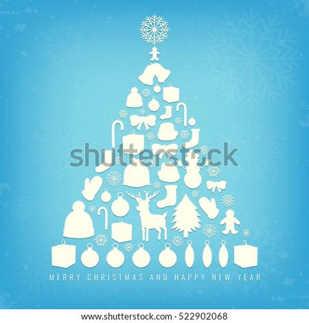 Christmas card with christmas tree sillhouette and ornaments. Xmas card. Vector