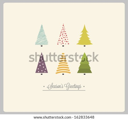 Christmas card with Christmas tress - stock vector