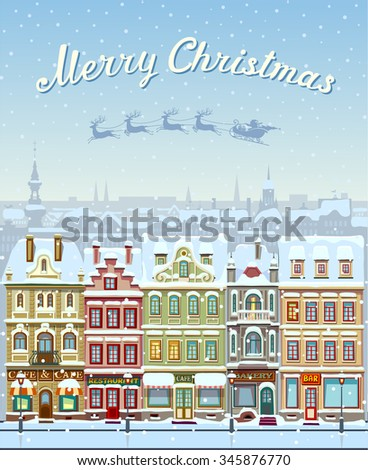 Christmas card with cityscape and snowfall - stock vector