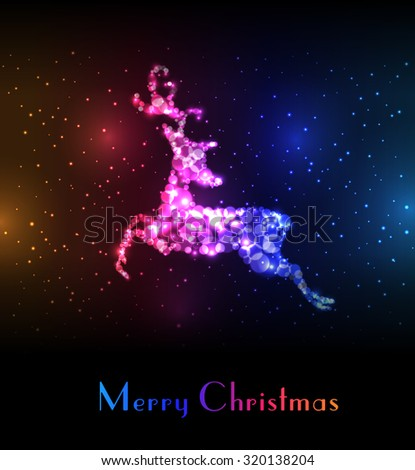 Christmas card with colorful reindeer.  - stock vector