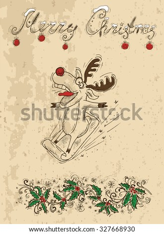 Christmas card with crazy deer on sledges, vintage illustration with hand drawn elements - stock vector