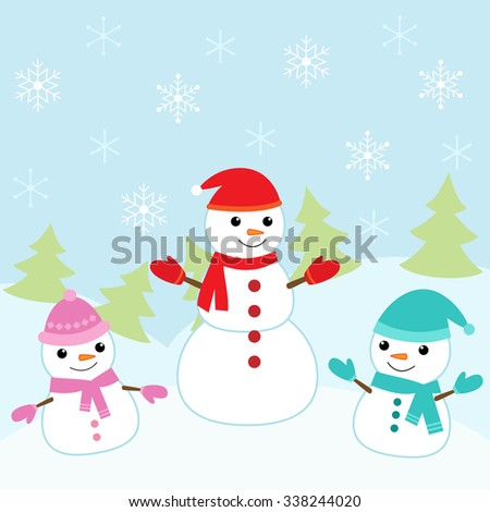 Christmas card with cute and smiling snowmen - stock vector