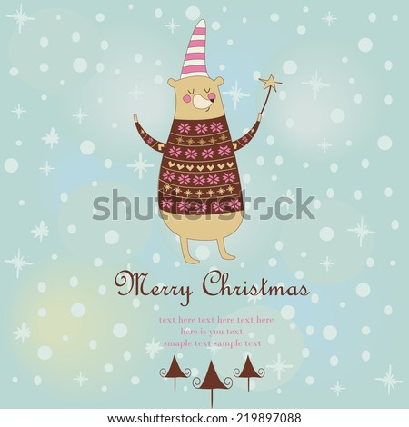 Christmas card with cute bear in knitted sweater and hat holding magic wand.  - stock vector