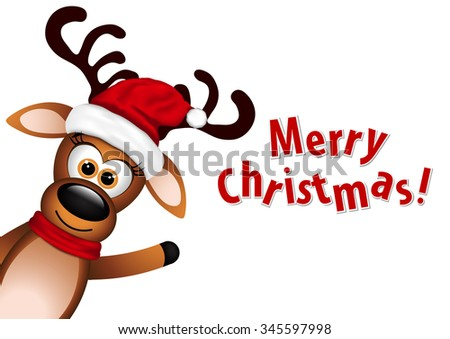 Christmas card with cute deer. - stock vector