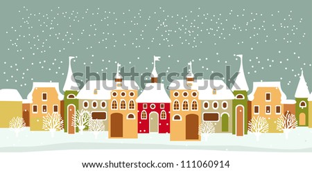 Christmas card with cute little town. seamless