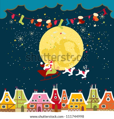 Christmas card with cute little town. seamless - stock vector