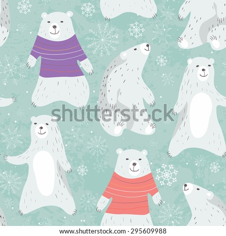 Christmas card with cute polar bear in sweater. Warm winter wishes card design.  Vector illustration. - stock vector