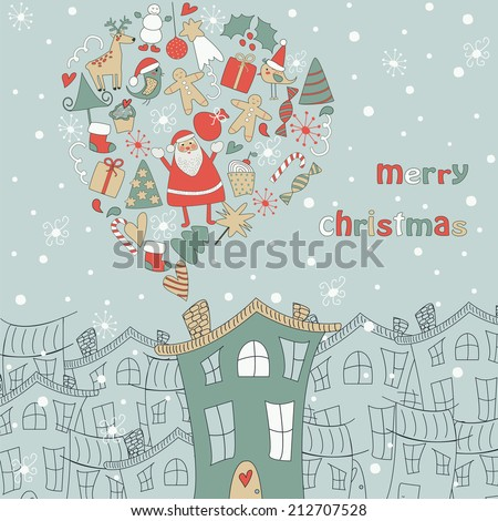 Christmas card with cute santa claus, deer, snowman, red holy berry, christmas trees, snowballs, snowflakes, gift boxes, christmas sock and other christmas attributes - stock vector