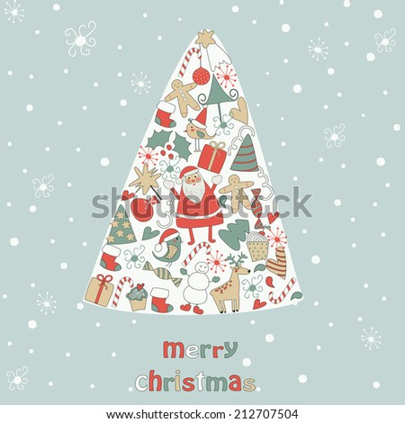 Christmas card with cute santa claus, deer, snowman, red holy berry, snowballs, snowflakes, gift boxes, christmas sock and other christmas attributes - stock vector