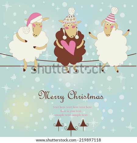 Christmas card with cute sheep in winter hats sitting on wires. Cartoon style. - stock vector