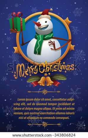 Christmas card with dark blue background with Christmas snowman in christmas red hat and green scarf holding a green gift box with red ribbon, vector - stock vector