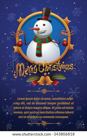 Christmas card with dark blue background with snowflakes with Christmas snowman in tall hat and scarf with red and green stripes holding two red christmas tree balls, vector - stock vector