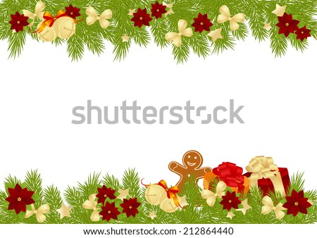 christmas card decorations bows stars poinsettia stock vector