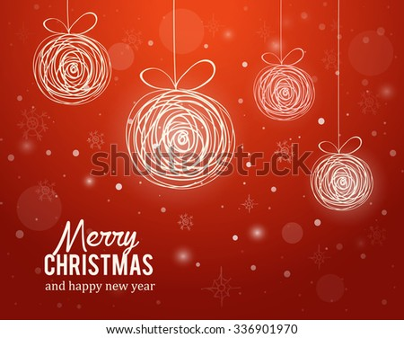 Christmas card with decorrations and greetings eps10 - stock vector