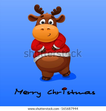 Christmas card with deer - stock vector
