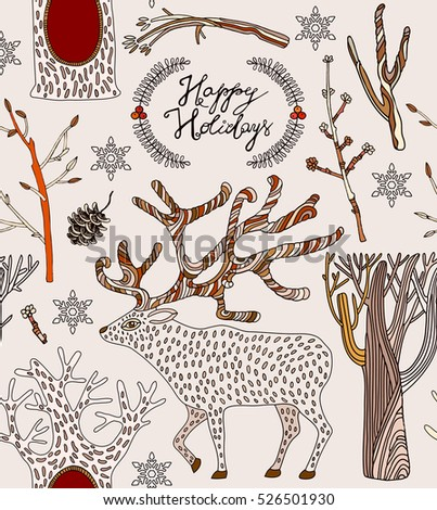 christmas card with deer and winter trees.