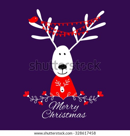 Christmas card with deer. Christmas greeting card template, vector Merry Christmas. Winter holiday design - stock vector