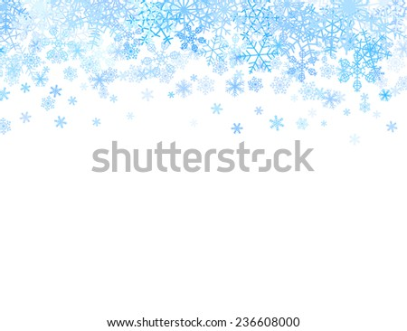 Christmas card with different snowflakes on top - stock vector