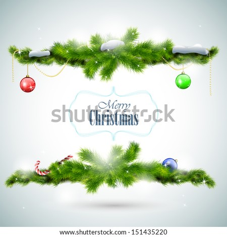 Christmas card with fir branches and balls eps10 vector illustration - stock vector