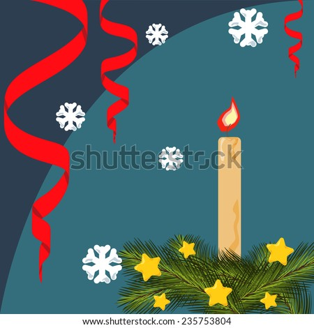 Christmas card with fir branches, stars, serpentine, lighted candle, background with snowflakes. Vector flat illustration - stock vector