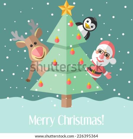 Christmas card with fir tree and Christmas characters - stock vector