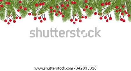 Christmas Card with Fir Twig Design - stock vector